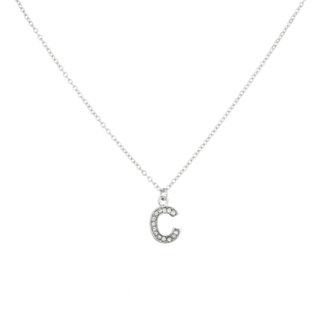 Lux Accessories Pave Crystal Initial 'C' Necklace Block