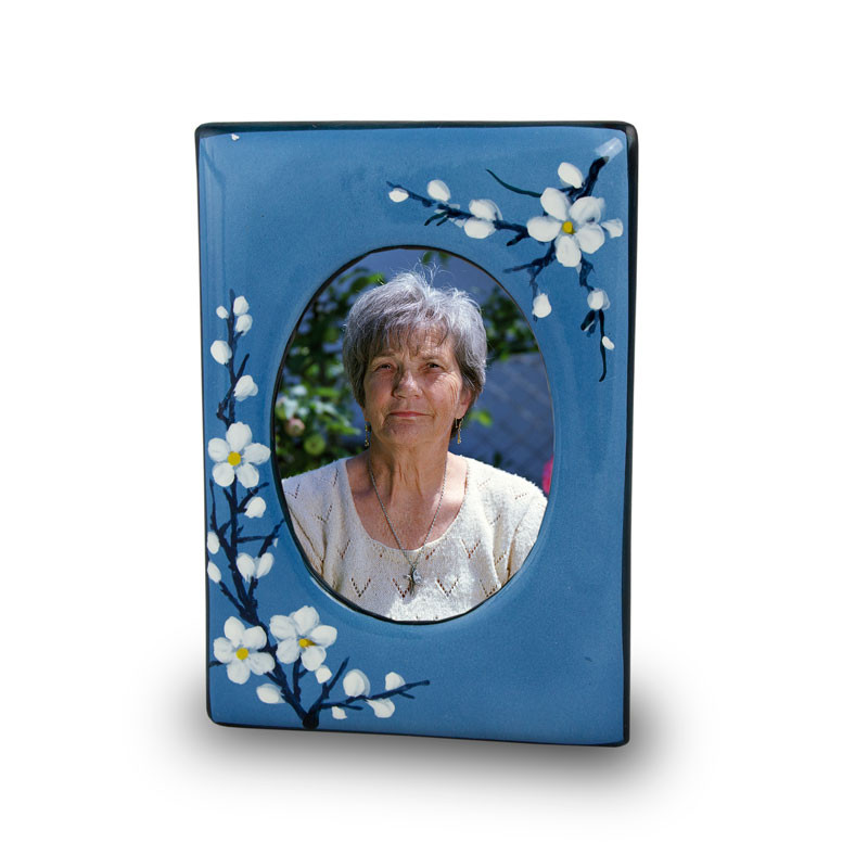 Ceramic Photo Frame Memorial Keepsake Urns - Extra Small 1 Pounds -  Blue Plum Blossom