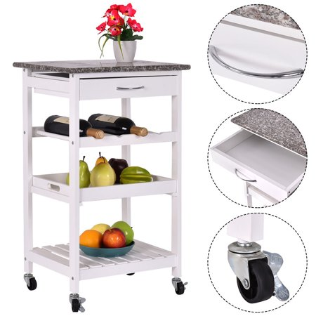 Kitchen Island Shelves - Costway 4-Tier Rolling Wood Kitchen Trolley Island Cart Storage Shelf Drawer Wine Rack