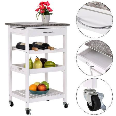 Costway 4-Tier Rolling Wood Kitchen Trolley Island Cart Storage Shelf  Drawer Wine Rack