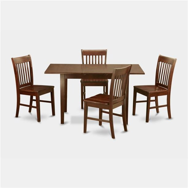 East West Furniture Nofk5 Mah W Small Kitchen Table With 12 In Leaf 4 Dining Room Chairs Walmart Com Walmart Com
