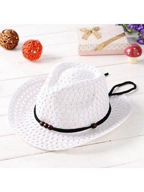 AkoaDa Summer Baby Kids Boy Girl Sun Straw Cap Breathable Western Cowboy Hat Wvt