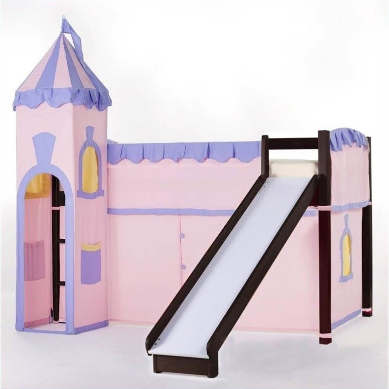 Hillsdale School House Junior Loft Bed With Slide And Castle Tent, Chocolate
