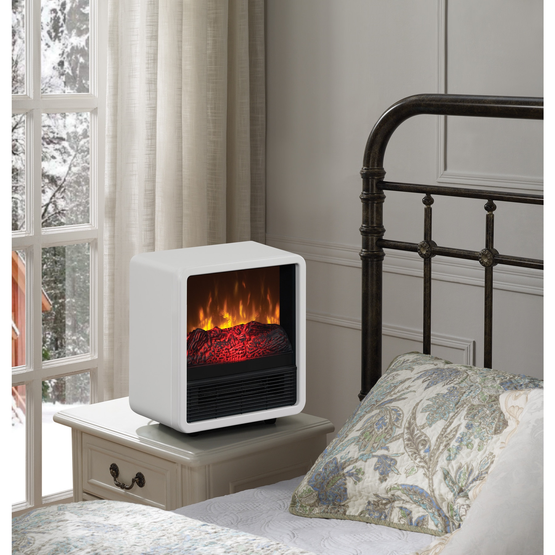 duraflame personal fire cube electric heater fireplace white