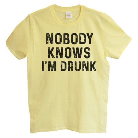 "359233c02 Funny Threadz - Funny Drinking Mens T-shirt ""Nobody Knows I'm Drunk"" Great  Funny Party T Shirt 2X-Large, Yellow - Walmart.com"