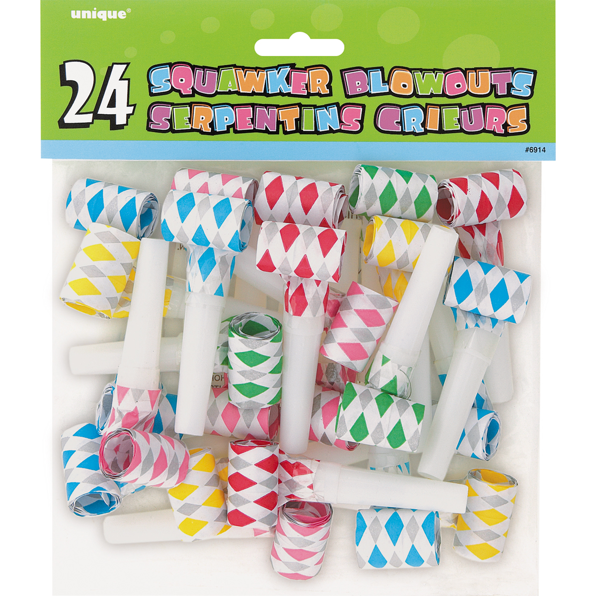 Diamond Squawker Party Blowers, 24-Count
