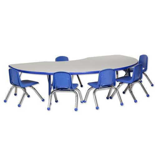 ECR 7 Piece 72'' x 48'' Kidney Classroom Table and 16'' C...