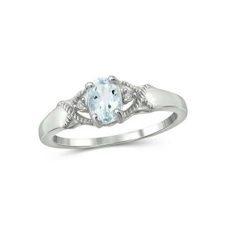 1/2 Carat T.G.W. Aquamarine And Accent White Diamond Sterling Silver Women's Ring