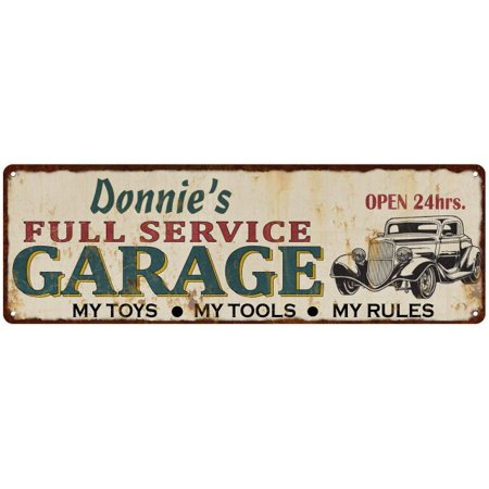 Donnie's Full Service Garage Metal Sign 6x18 Rusty Man Cave 206180047128