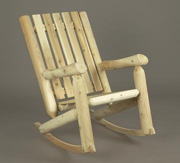 "37"" Natural Cedar Log Style Outdoor Wooden High Back Rocking Chair"