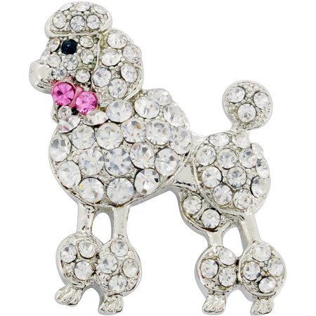 Chrome Poodle Dog With Pink Bow Crystal Brooch