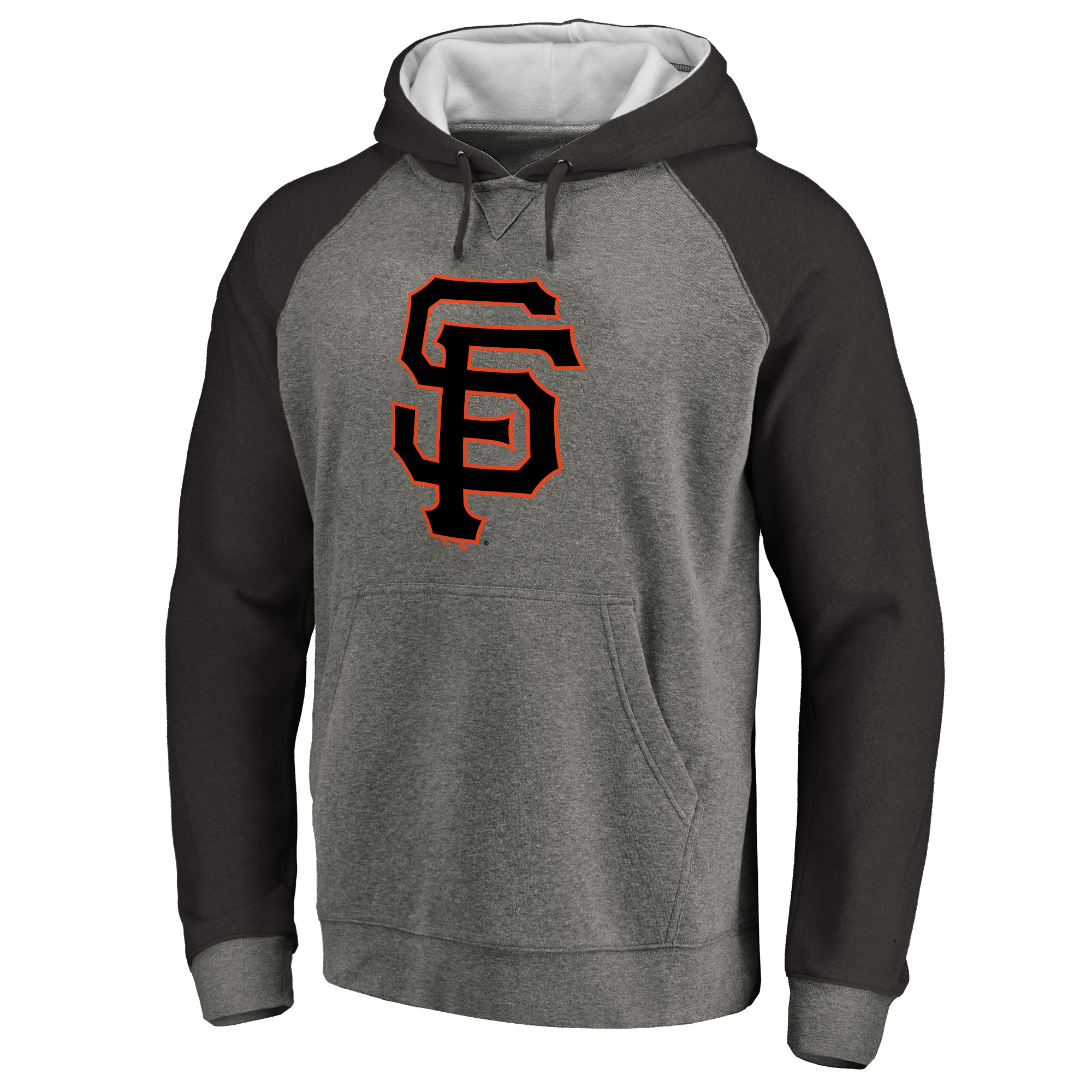 San Francisco Giants Primary Logo Raglan Sleeve Tri-Blend Pullover Hoodie - Ash
