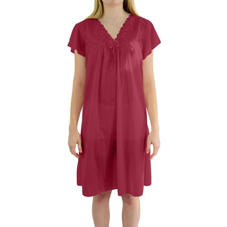 EZI Women's 'Wendy' Cap Sleeve Satin Nightgown - Royal Blue Cap And Gown