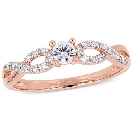 - Miabella 1/4 Carat T.G.W. Created White Sapphire and 1/10 Carat T.W. Diamond Rose-Plated Sterling Silver Infinity Engagement Ring