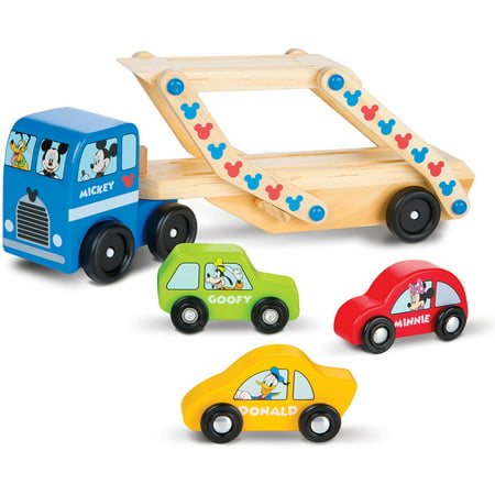 Melissa   Doug Mickey Mouse Clubhouse Car Carrier Truck And Cars Wooden Toy Set With 1 Truck And 3 Cars