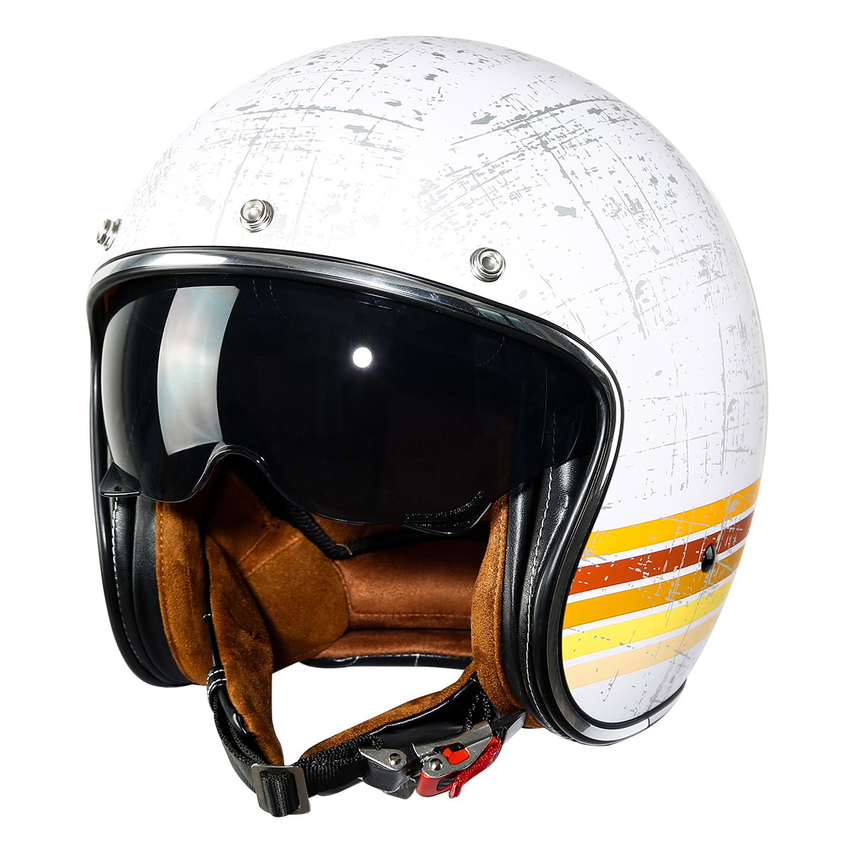 Tcmt 3 4 Open Face Motorcycle Scooter Helmet With Sun Visor Retro Style Cafe Racer Dot White M Size Walmart Com Walmart Com