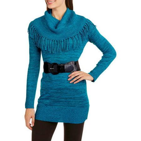 Image of Allison Brittney Women's Fringe Cowl Neck Belted Tunic Sweater