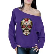 Awkward Styles Rose Eyes Skull Off Shoulder Sweatshirt Sugar Skull Roses Sweater for Women Sugar Skull Oversized Sweatshirt Off Shoulder Dia de los Muertos Gifts for Her Women's Day of the Dead Outfit