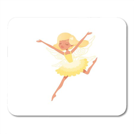 KDAGR Colorful Beautiful Blond Fairy in Action with Hands Up Girl Wearing Bright Yellow Dress Mythical Creature Mousepad Mouse Pad Mouse Mat 9x10 inch