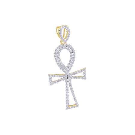 14k White Gold Cross Pendant (1 Cttw Round Shape White Natural Diamond Hip Hop Jewelry Open Cross Pendant In 14K Solid Yellow)