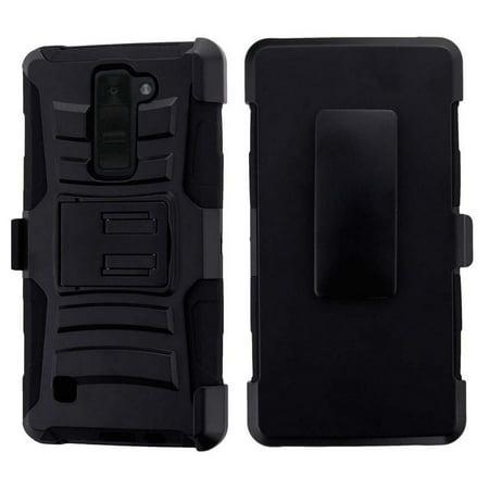 K8V VS500 CLIP CASE, BLACK RUGGED CASE RUBBER COVER + BELT CLIP HOLSTER STAND FOR VERIZON LG K8V VS500 (K8-V) (Lg G2 Rubber Phone Case Verizon)