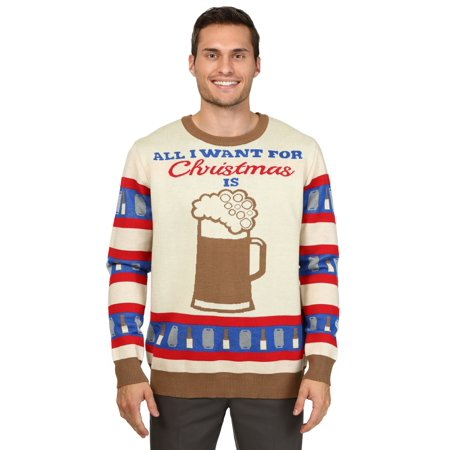 Beer Christmas Sweater.All I Want For Christmas Is Beer Ugly Christmas Sweater