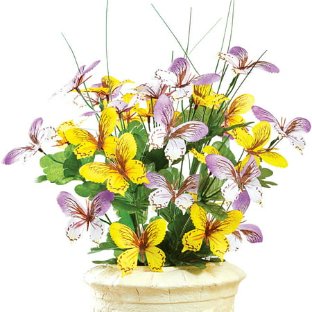 Butterfly Flowers (Artificial Butterfly Orchid Floral Bouquet Bush Centerpiece Arrangement, Yellow/Purple)