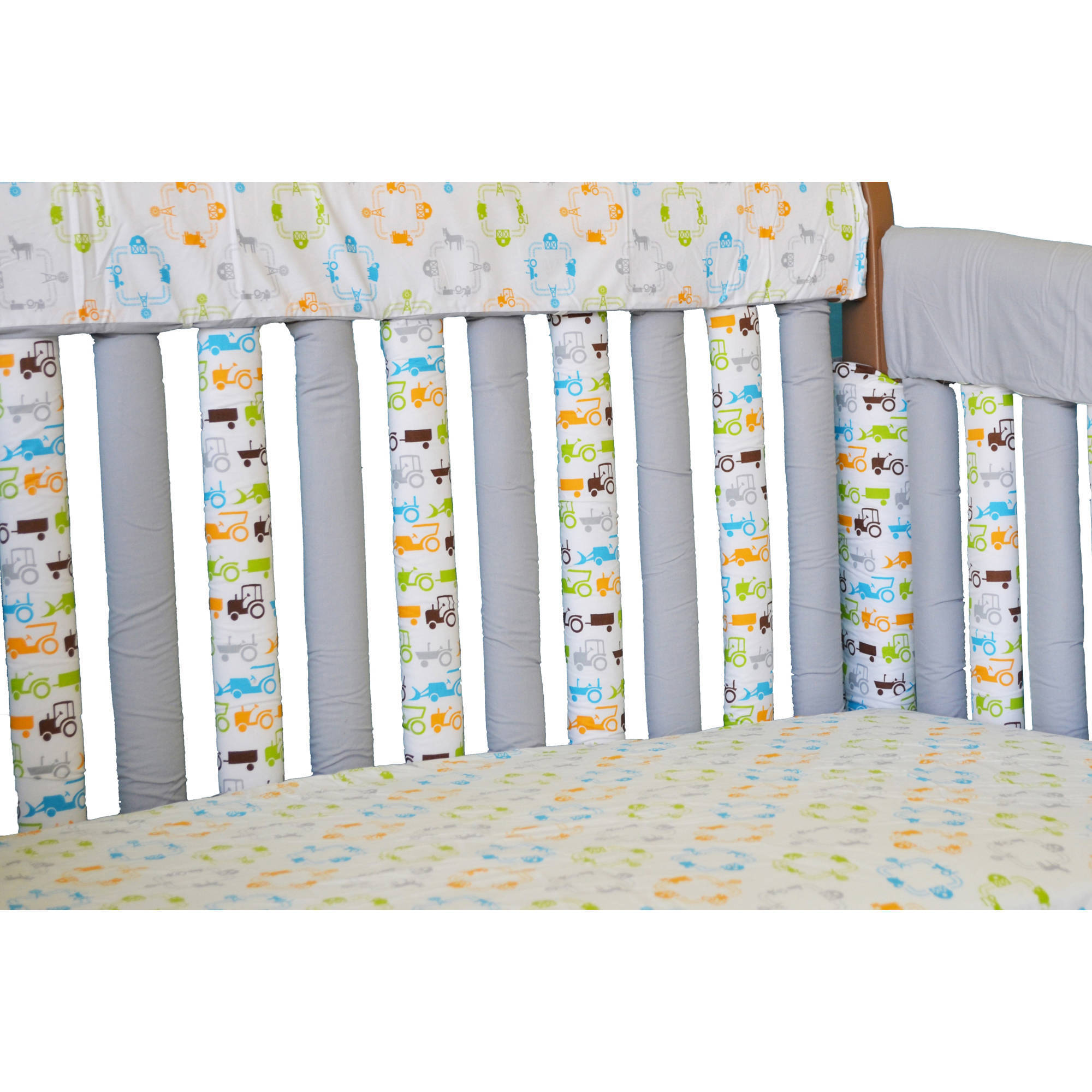 """Go Mama Go Designs Tractor Trails 52"""" x 6"""" Reversible Teething Guard"""