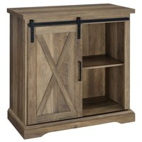 "32"" Rustic Farmhouse Sliding Barn Door Accent Cabinet"