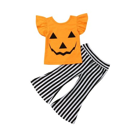 Halloween Opening Remarks (One opening Baby Girls Halloween Costume Short Sleeve Ruffle Smiley Face Printed T Shirt Top+Stripe Bell Bottom Pant Outfits)