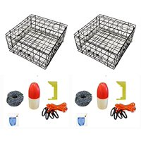 """2-Pack of KUFA Vinyl Coated crab trap & accessory kit (100' Non-Lead sinking line,Clipper,Harness,Bait Bag & 14"""" Float) (S60+CAS3) x2"""