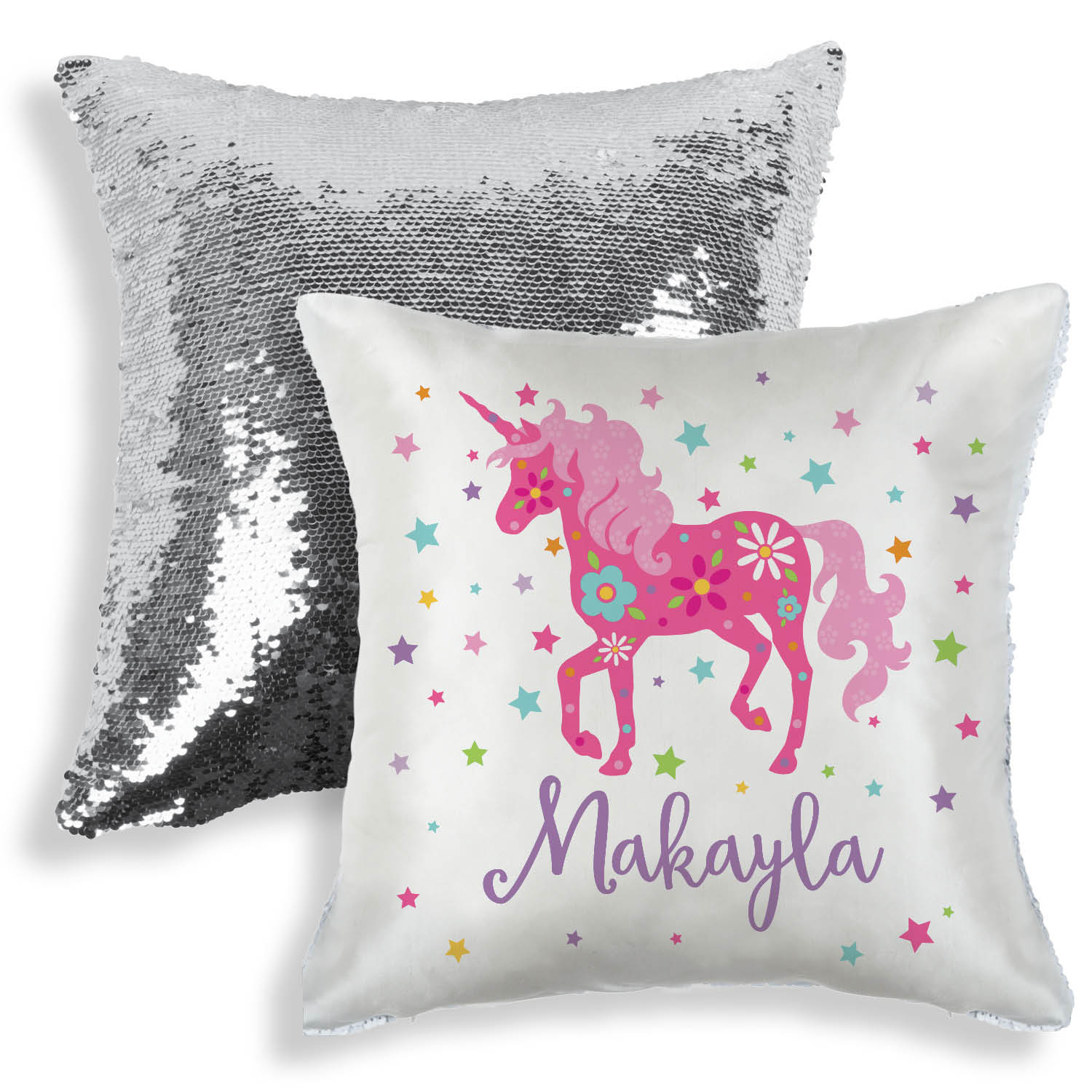 Personalized Sequin Pillow - Unicorn