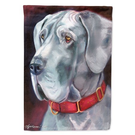 Great Dane Natural Ears Red Collar Flag Canvas House (Great Dane Natural)