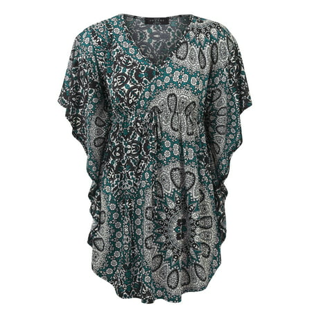 Made By Johnny MBJ WT1224 Womens Print Caftan Lounge Tunic Top M Teal