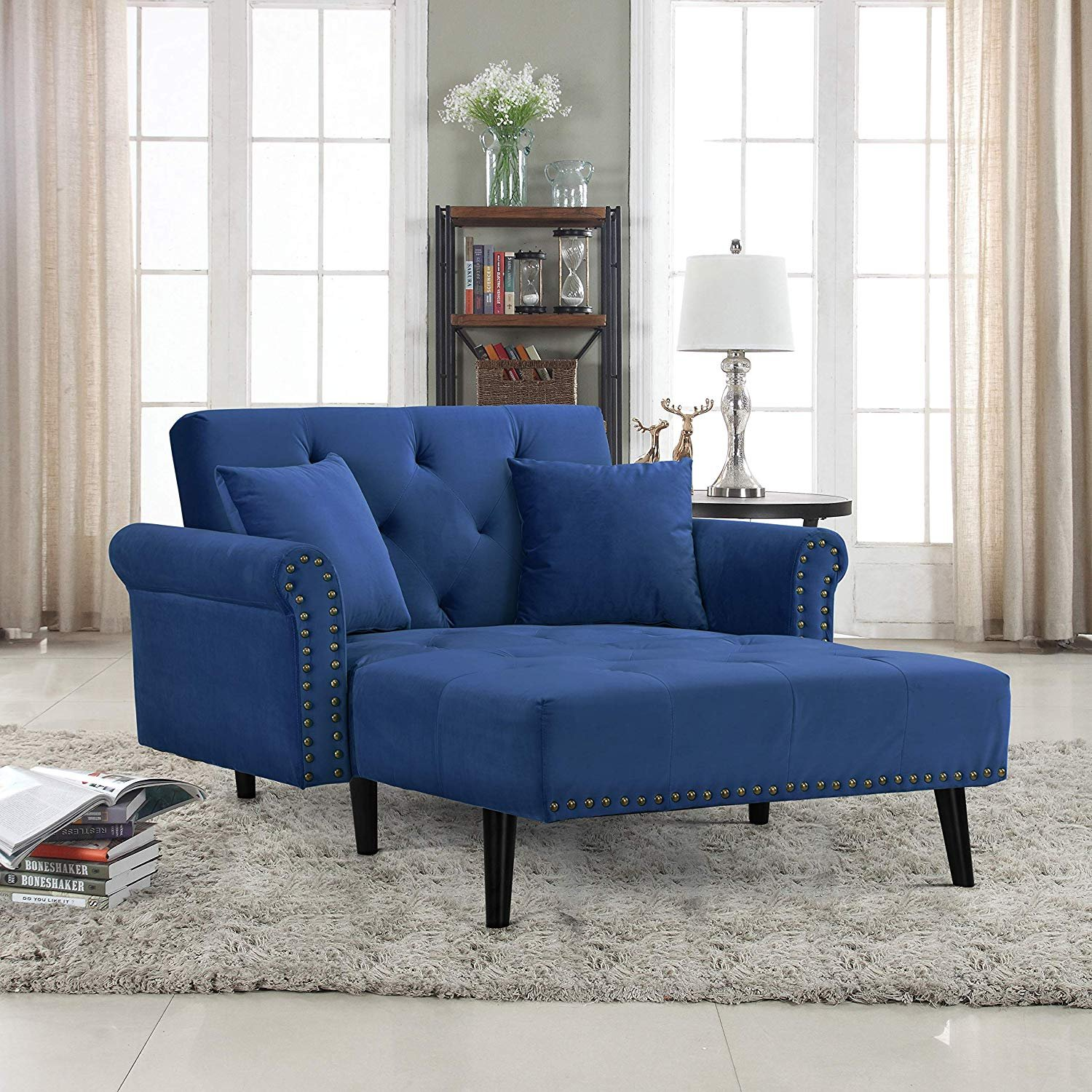 Modern Velvet Fabric Recliner Sleeper Chaise Lounge - Futon Sleeper Single Seater with Nailhead Trim (Navy)
