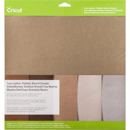 """Cricut Pebbled Faux Leather Sampler 12""""X12"""" 5/Pkg Neutral"""