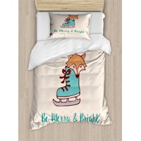 Christmas Duvet Cover Set, Merry Calligraphy with Little Fox in Ice Skate Boot Heart on Stripes, Decorative Bedding Set with Pillow Shams, Beige Seafoam and Amber, by Ambesonne