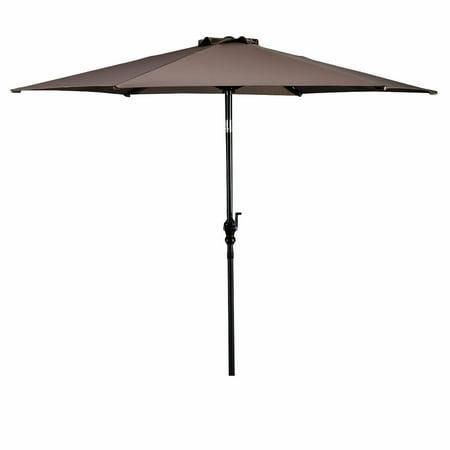 9' Auto Tilt Market Umbrella - Costway 9ft Patio Umbrella Patio Market Steel Tilt w/ Crank Outdoor Yard Garden (Tan)