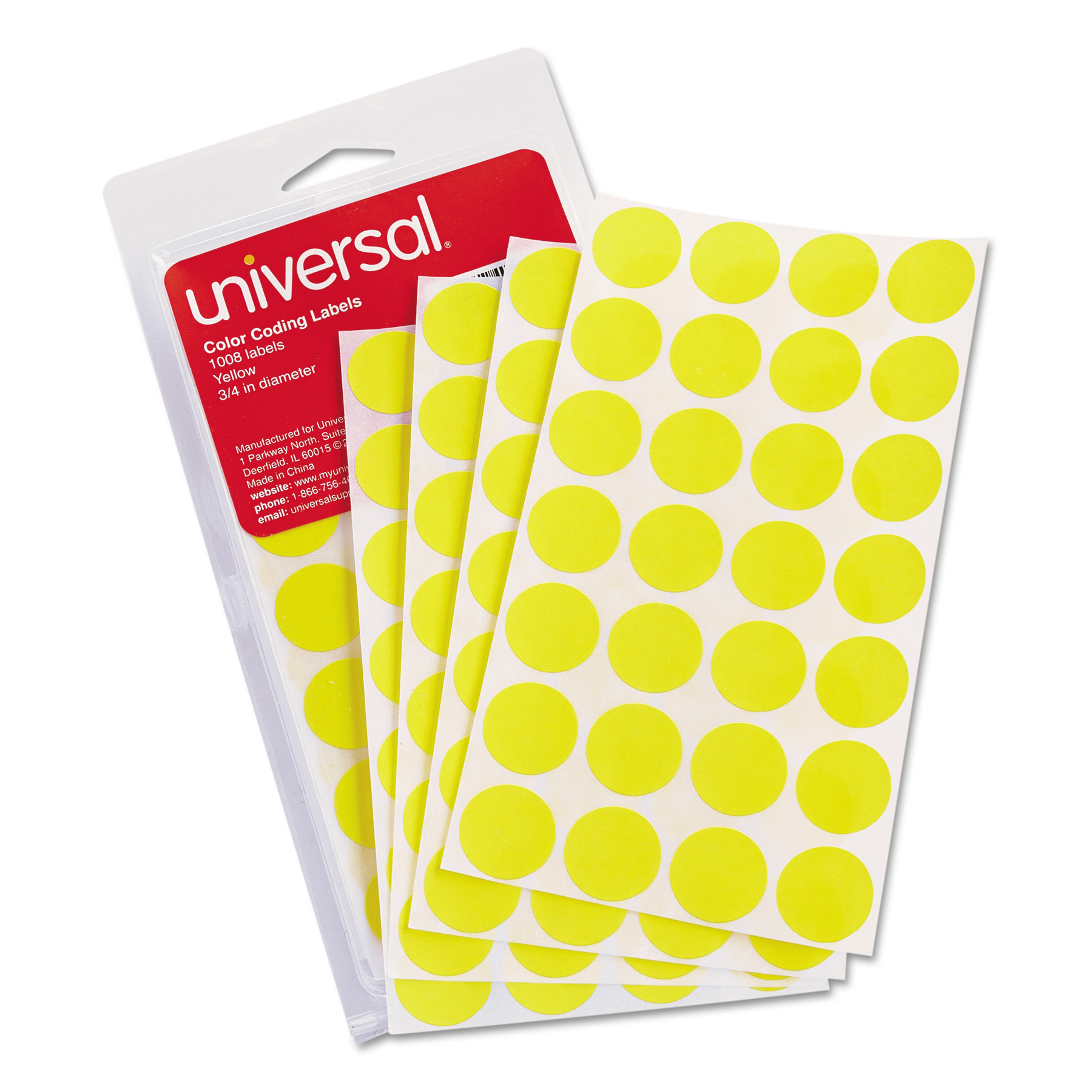 "Universal Self-Adhesive Removable Color-Coding Labels, 3/4"" dia, Yellow, 1008/Pack"