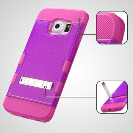 Insten Hard Rubber Coated Silicone Case w/stand For Samsung Galaxy S6 Edge - Purple/Hot Pink - image 1 of 9