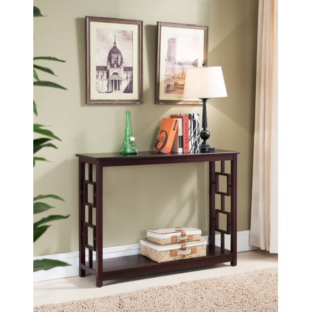 Pilaster Designs Alex Dark Cherry Wood Contemporary Occasional Entryway Console Sofa Table With Storage - Cherry Contemporary Console Table