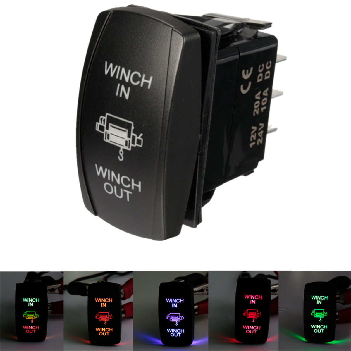 MATCC 12V 24V LED Rocker Switch Winch In Winch Out 7 Pin Laser Momentary (ON)-OFF-(ON) Light Switch Universal Car Vehicle SUV Van Boat RV Marine Waterproof  US
