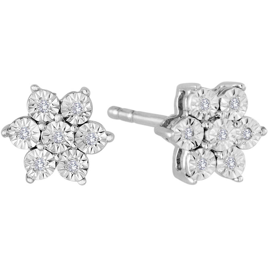 1/20 Carat T.W. Diamond Sterling Silver Snowflower Stud Earrings