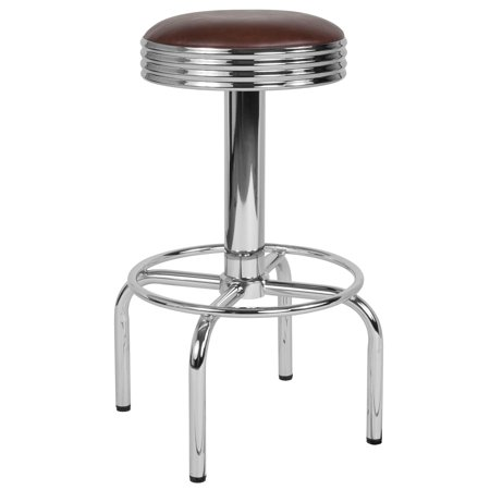Flash Furniture Retro Diner Barstool with Chrome Base in Brown Vinyl