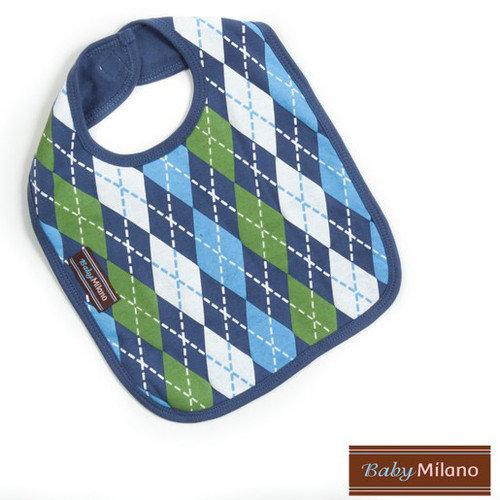 Baby Milano Bib in Blue Argyle