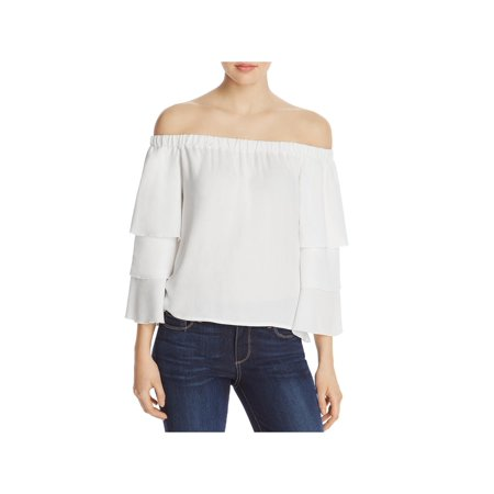 Ella Moss Womens Stella Tiered Off-The-Shoulder Casual Top ()
