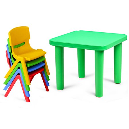 Kids Plastic Table and 4 Chairs Set Colorful Playroom School Home Furniture New - image 7 de 10