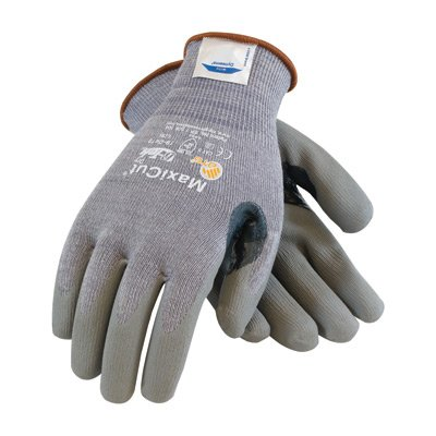 ® Large MaxiCut® 5 By ATG® Medium Weight Cut Resistant Gray Micro-Foam Nitrile Palm And Fingertip Coated Work Gloves With Gray Seamless Dyneema®, Lycra® And Glass.., By Protective Industrial Products