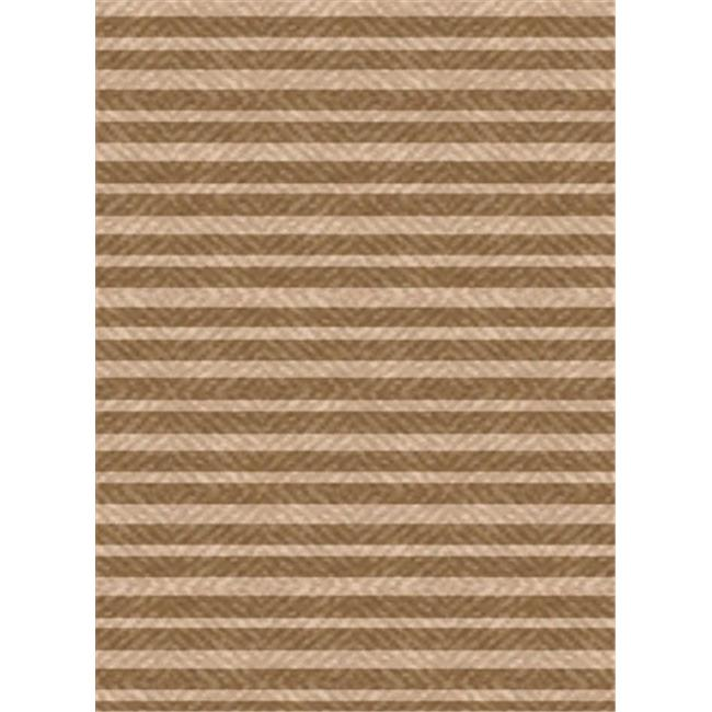 IMS 26071890908114 Stripes Pattern Heavyweight Outdoor Patio Rug, Light Brown & Beige - 8 x 11 ft.