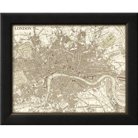 Sepia Map of London Framed Print Wall Art By Vision Studio - Walmart.com